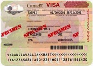 Example of a Temporary Resident Visa (TRV)