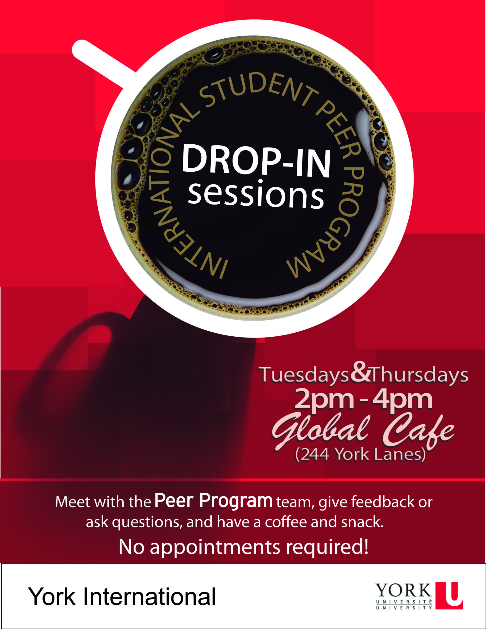 Peer Program Drop-in Session at the Global Cafe @ Global Cafe (244 York Lanes)