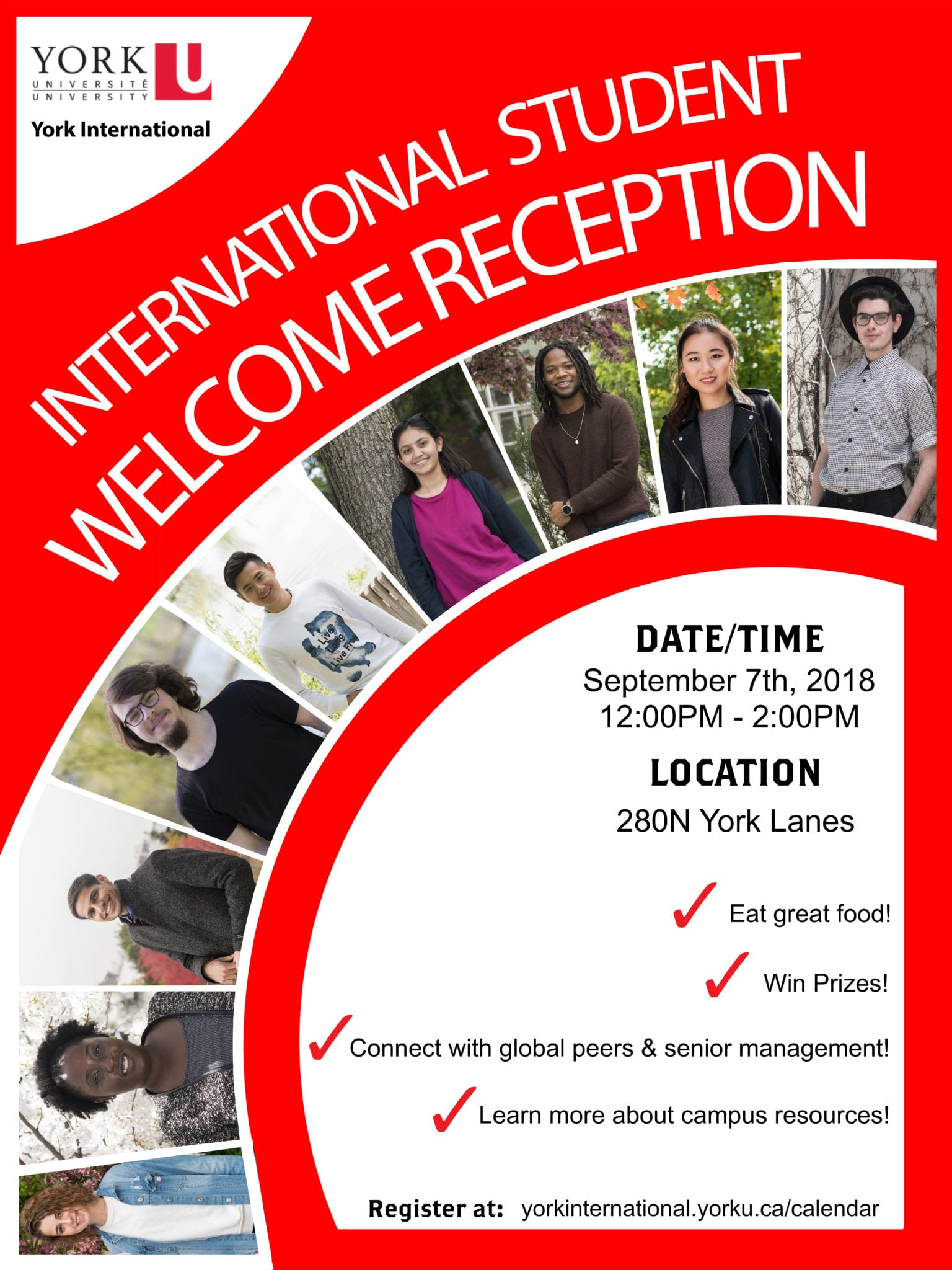 Welcome Reception for International Students @ York Lanes, Room 280N (second floor)