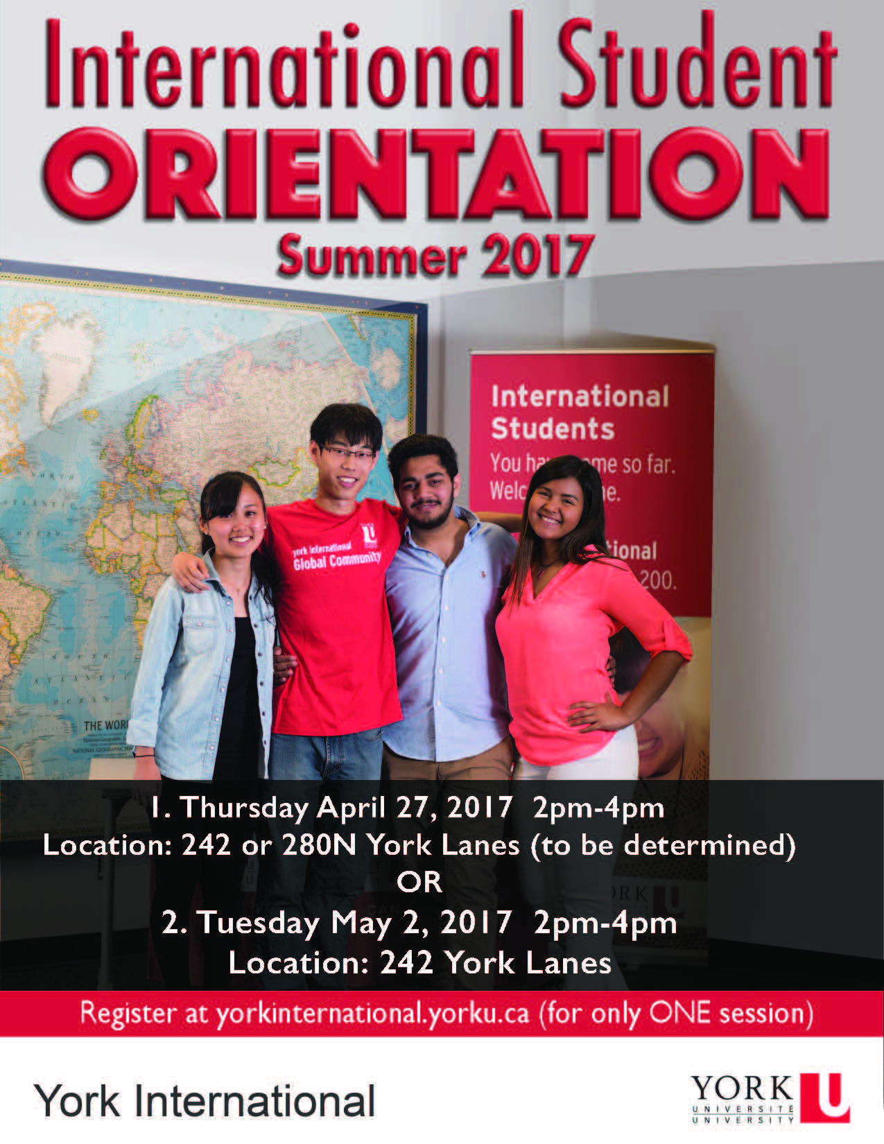 New International Student Orientation @ York Lanes, Room 242 OR 280N (second floor)