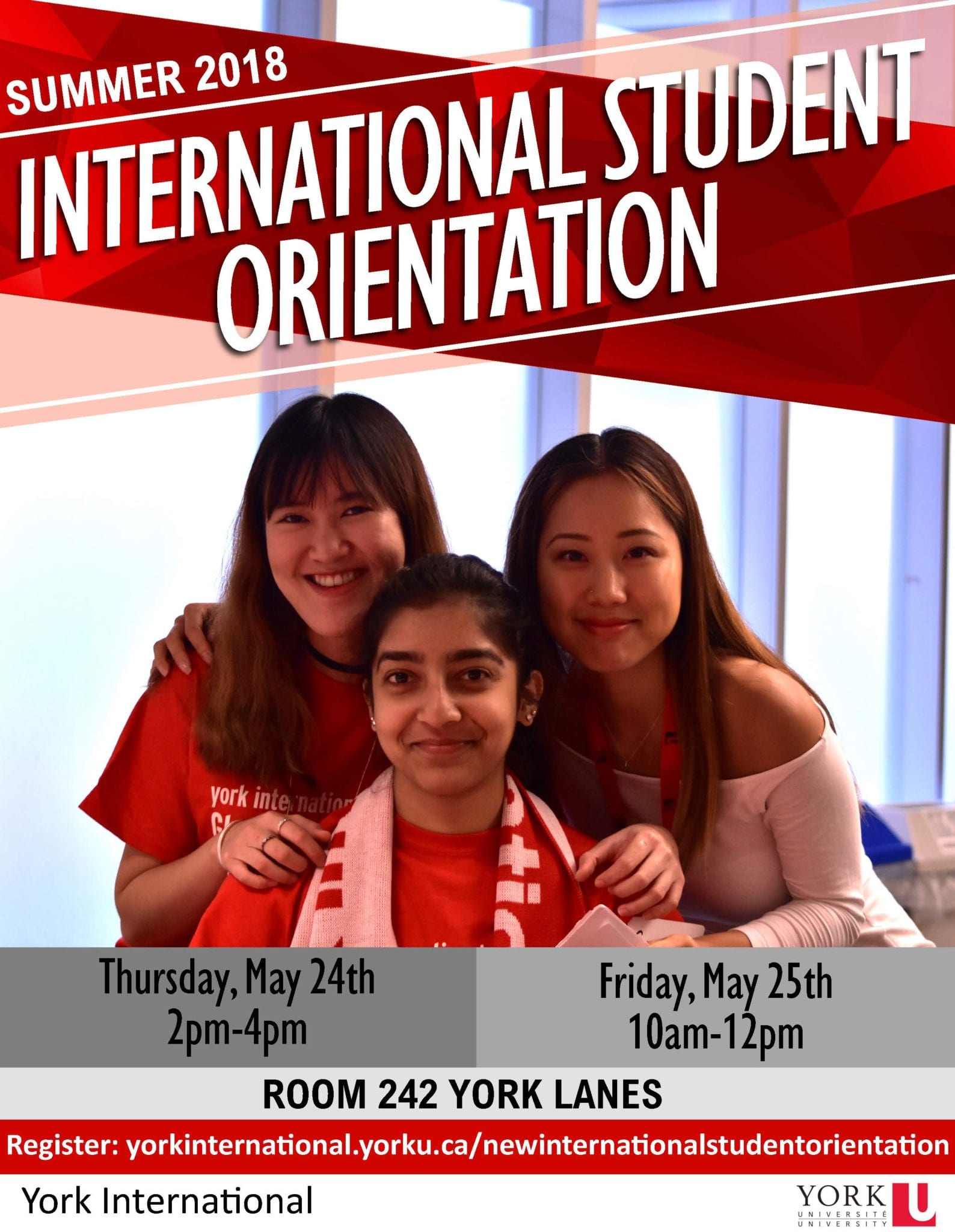 New International Student Orientation @ York Lanes, Room 242 (second floor)