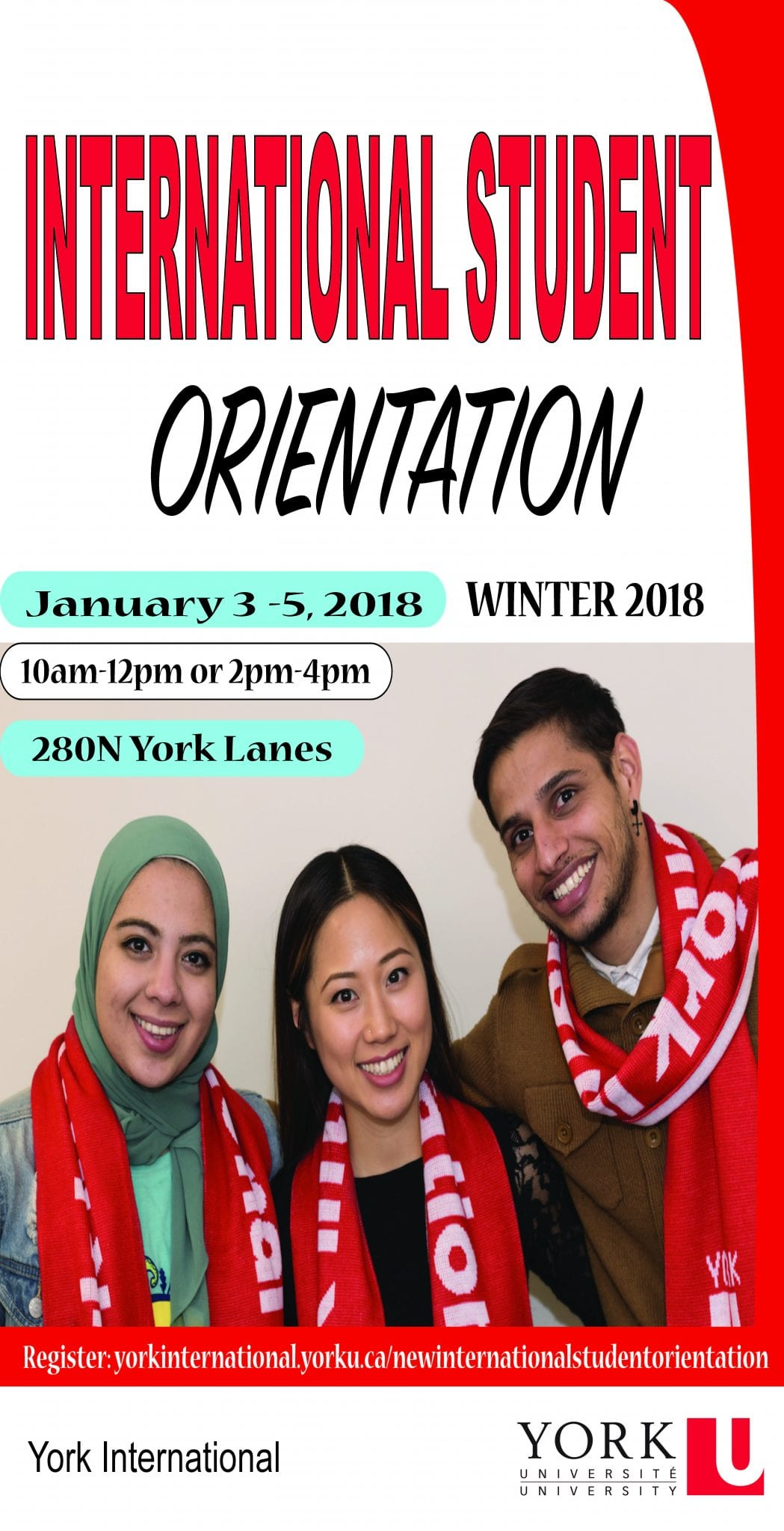 New International Student Orientation @ York Lanes, Room 280N (second floor)