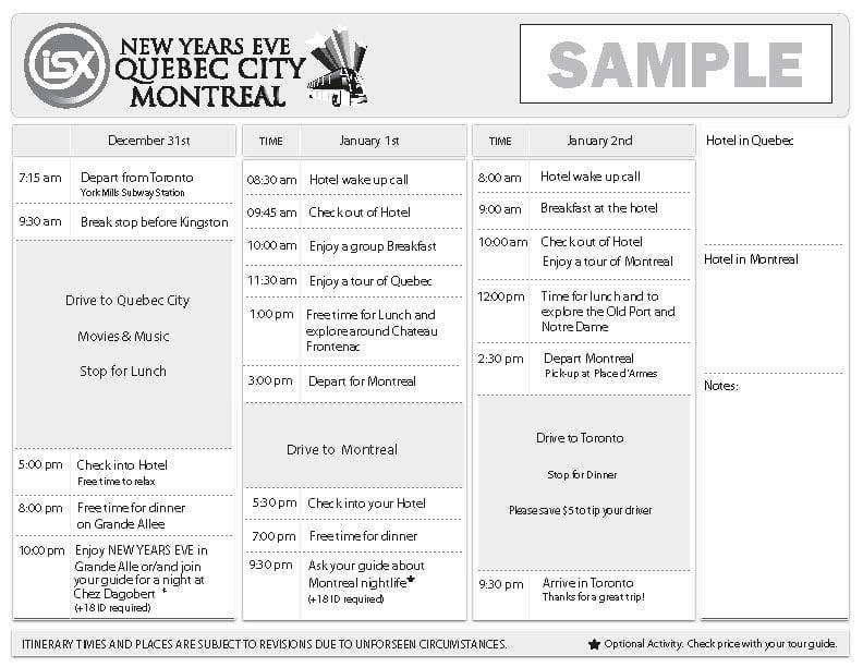 ISX Quebec City & Montreal NYE Trip