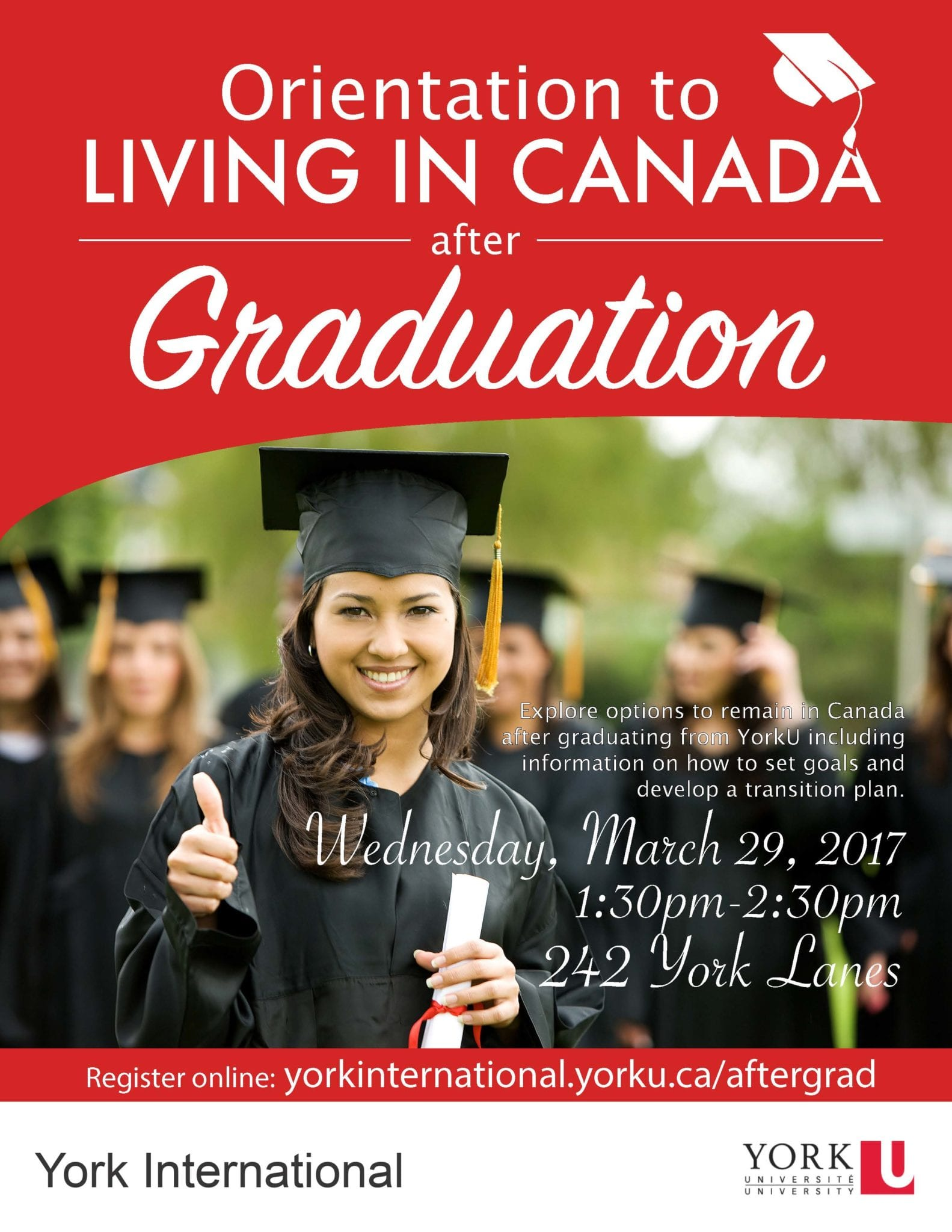 Orientation to Living in Canada after Graduation @ York Lanes, Room 242 (second floor)