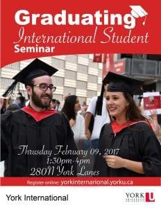 Graduating International Students Seminar @ York Lanes, room 280 North (second floor)