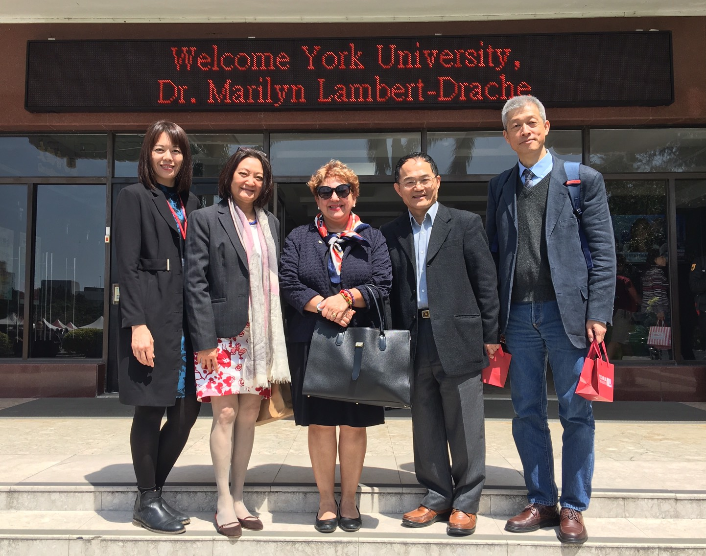 April 01, 2017 Dr. Marilyn Lambert-Drache, AVP International (Center) is welcomed by Tamkang University, Taiwan