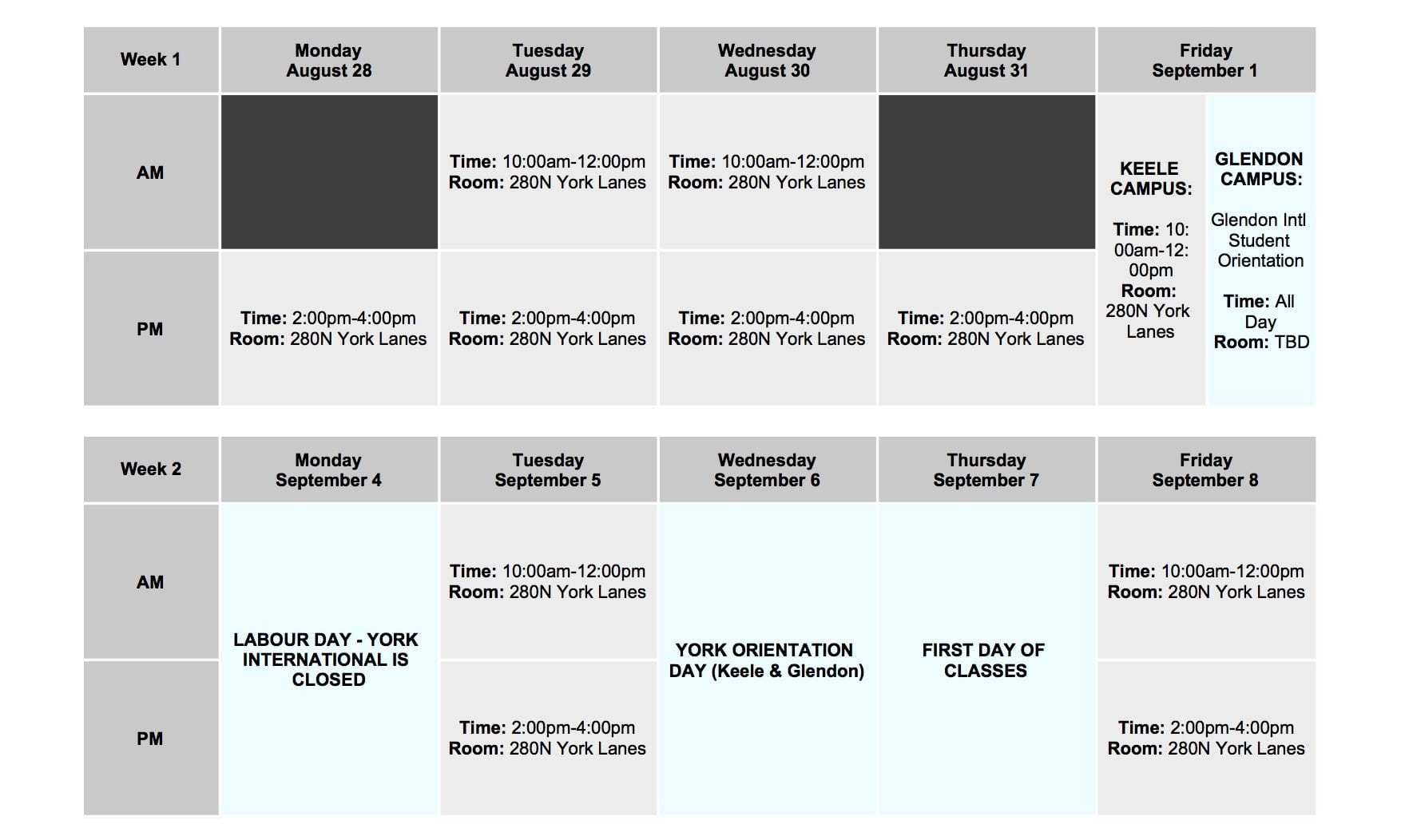 The schedule for York International's New Student Orientation