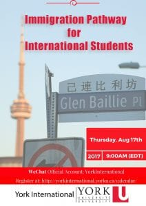 Immigration Pathway for International Students @ York University | Toronto | Ontario | Canada
