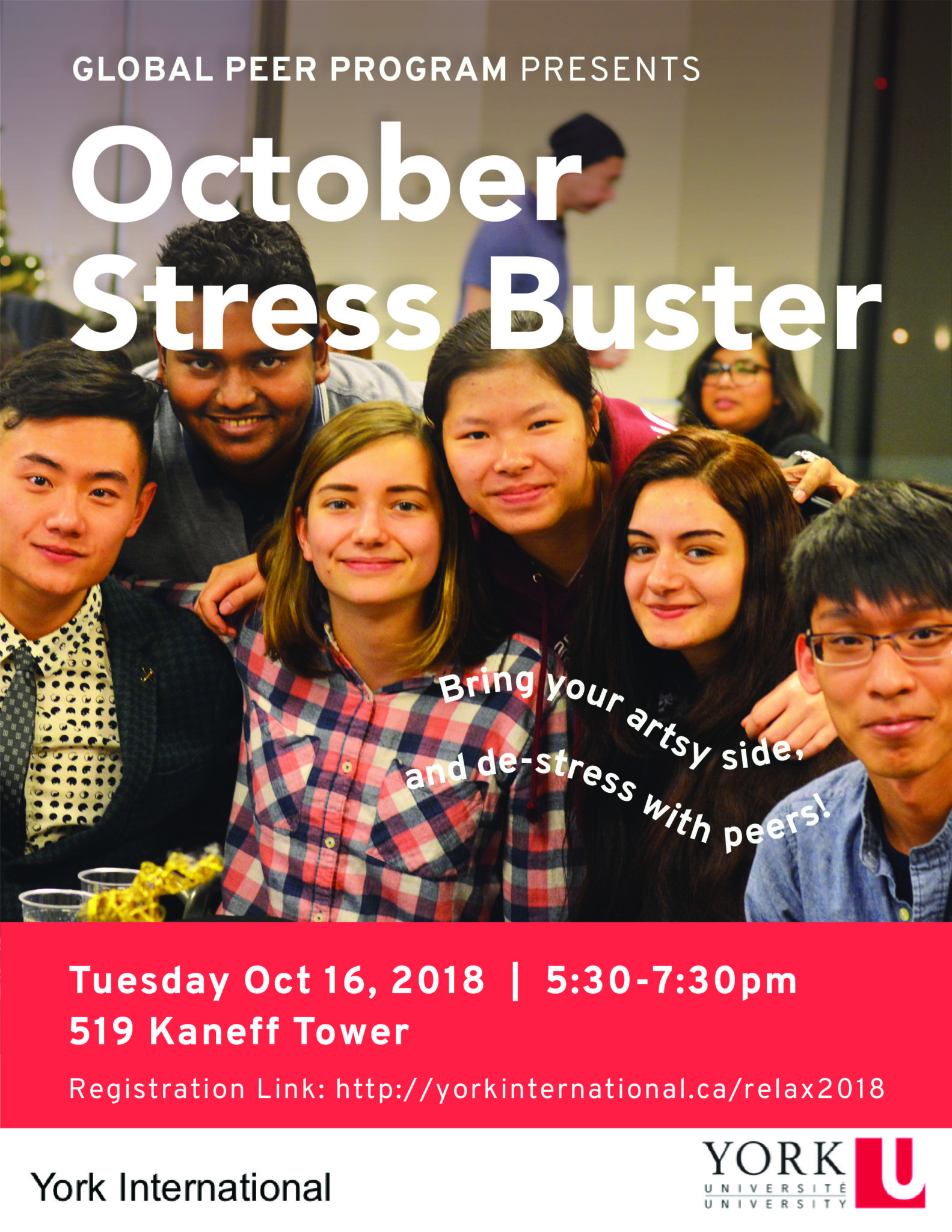 Global Peer Program October Stressbuster @ 519 Kaneff Tower