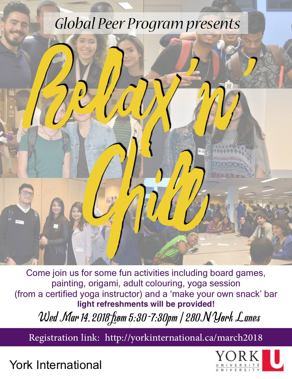 Global Peer Program Relax'n'Chill Event @ 280N York Lanes  | Toronto | Ontario | Canada