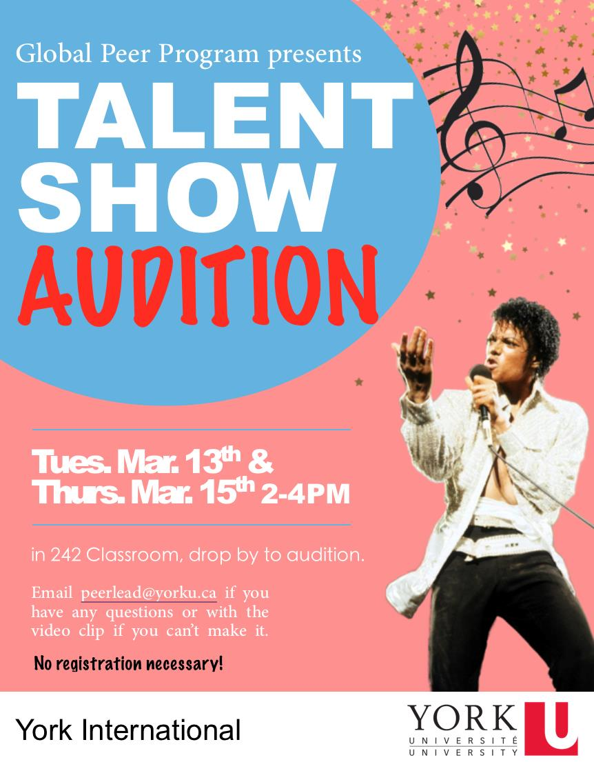 Global Peer Program Talent Show Auditions @ 242 York Lanes