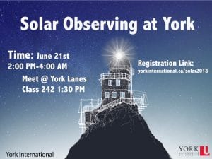 Global Peer Program Solar Observation at the Observatory @ 242 York Lanes