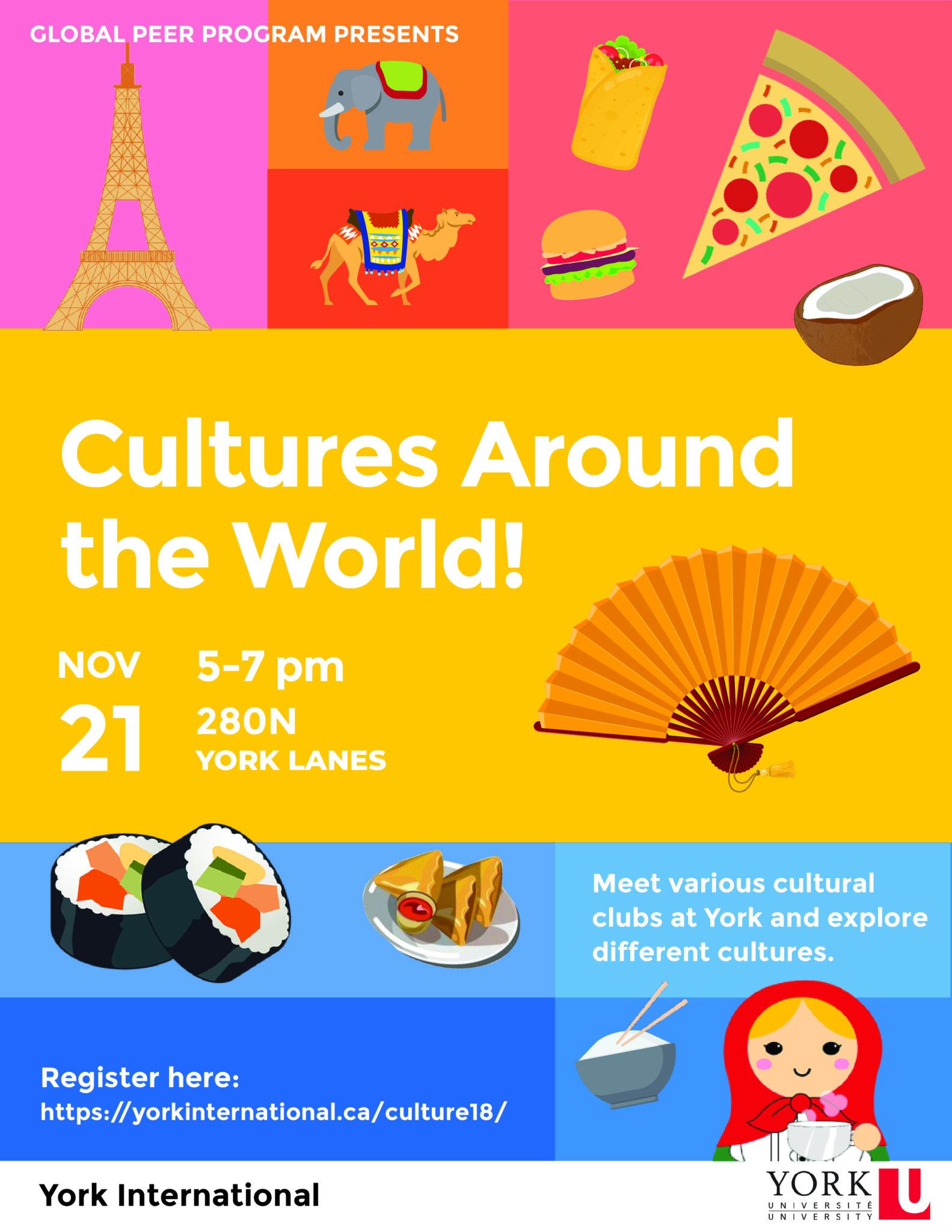 "Global Peer Program presents ""Cultures Around the World!"" @ 280N York Lanes"