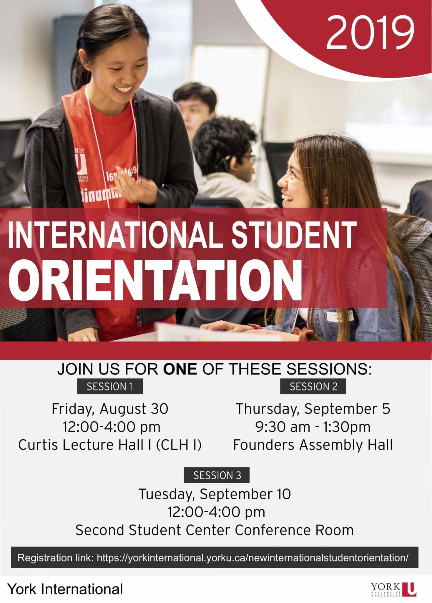 New International Student Orientation @ Founders Assembly Hall (152 Founders College)