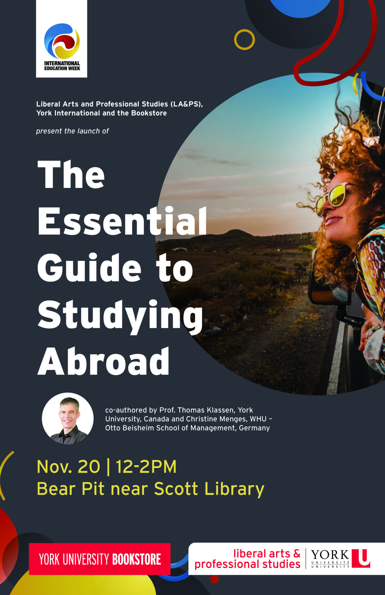 """Book Launch and Reception: """"The Essential Guide to Studying Abroad"""" @ Bear pit near Scott Library"""