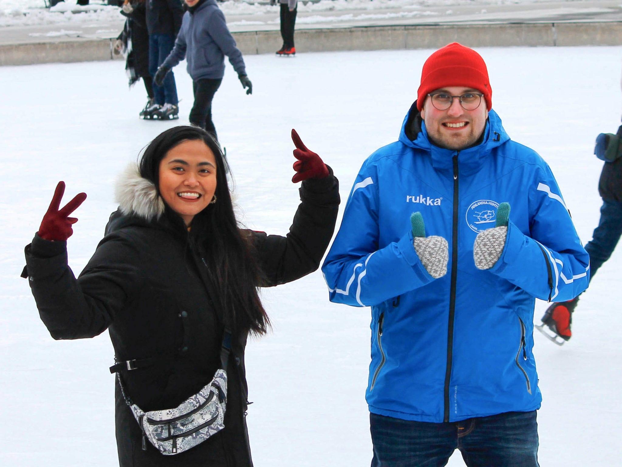 Two people skating