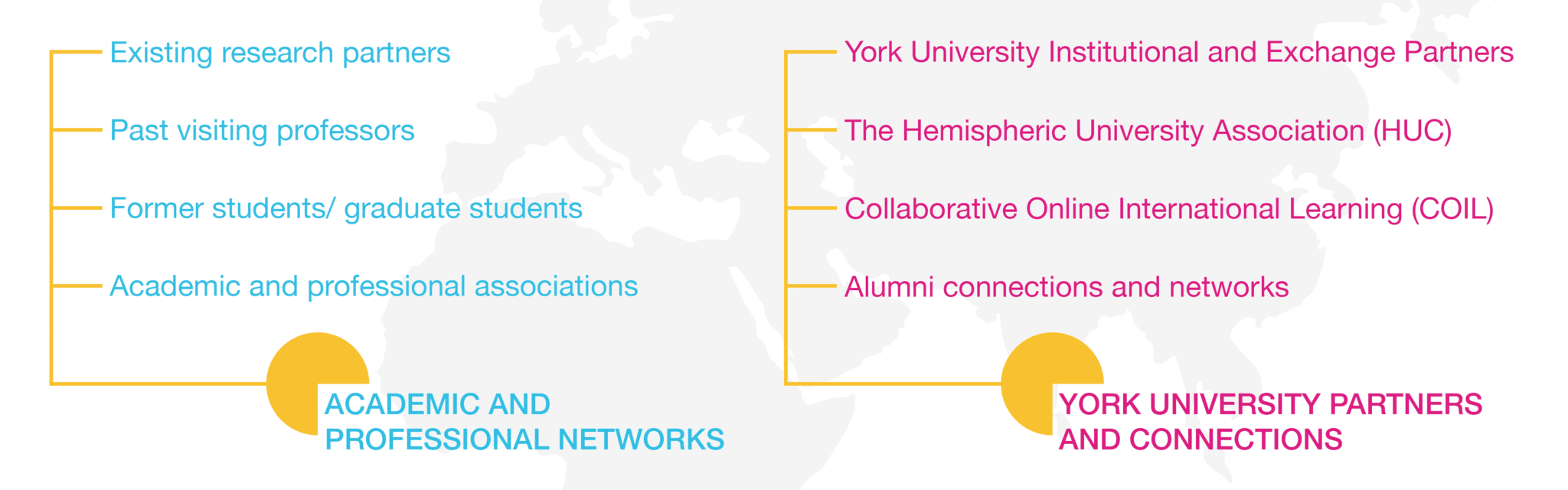 Academic and Professional Networks: Existing research partners, past visiting professors, former student/graduate students, academic and professional associations. York University partners and connections: York University institutional and exchange partners, the Hemispheric University Association (HUC), Collaborative Online International Learning (COIL), and alumni connections and networks.