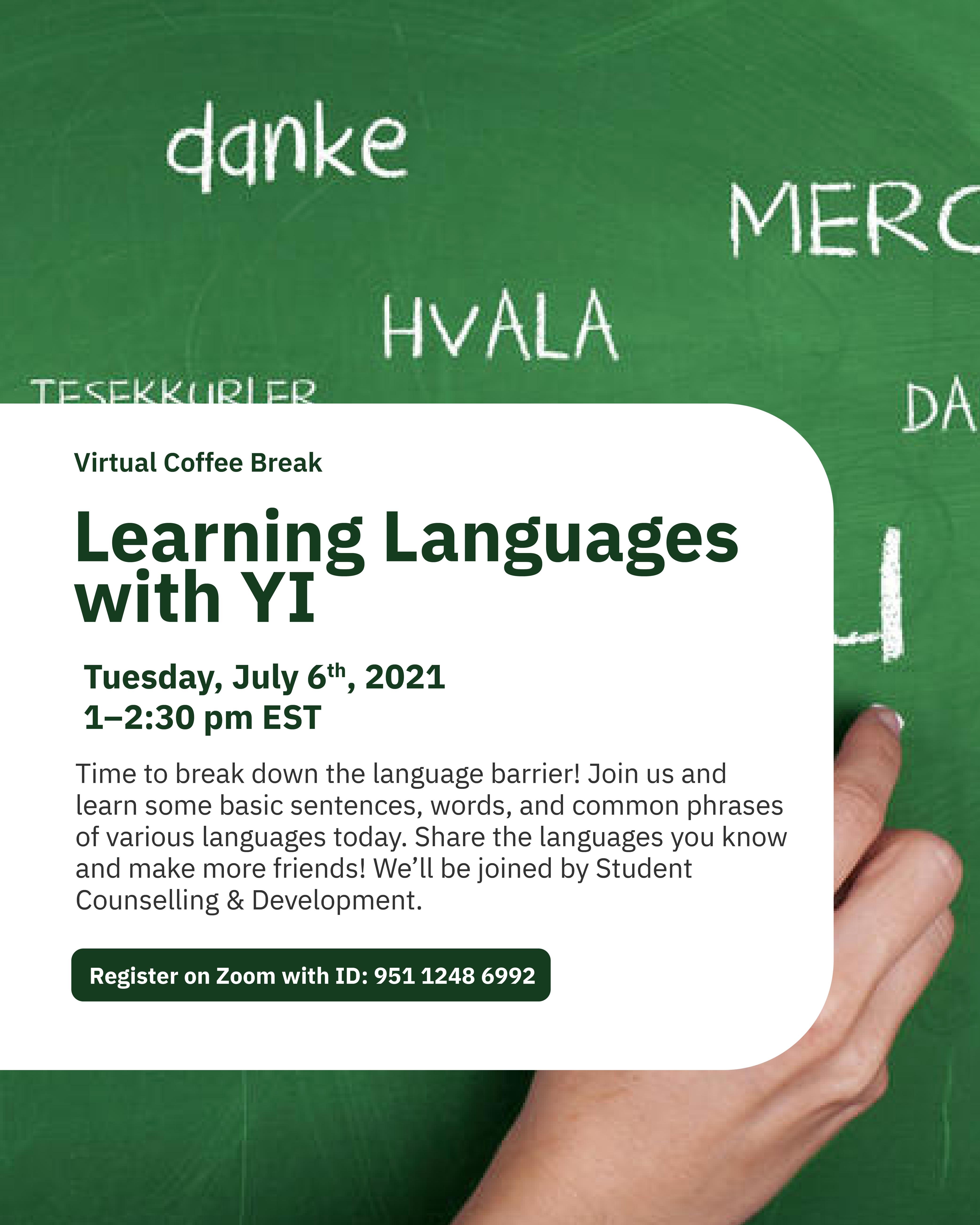 Virtual Coffee Break: Learning Language with YI @ Zoom - York International