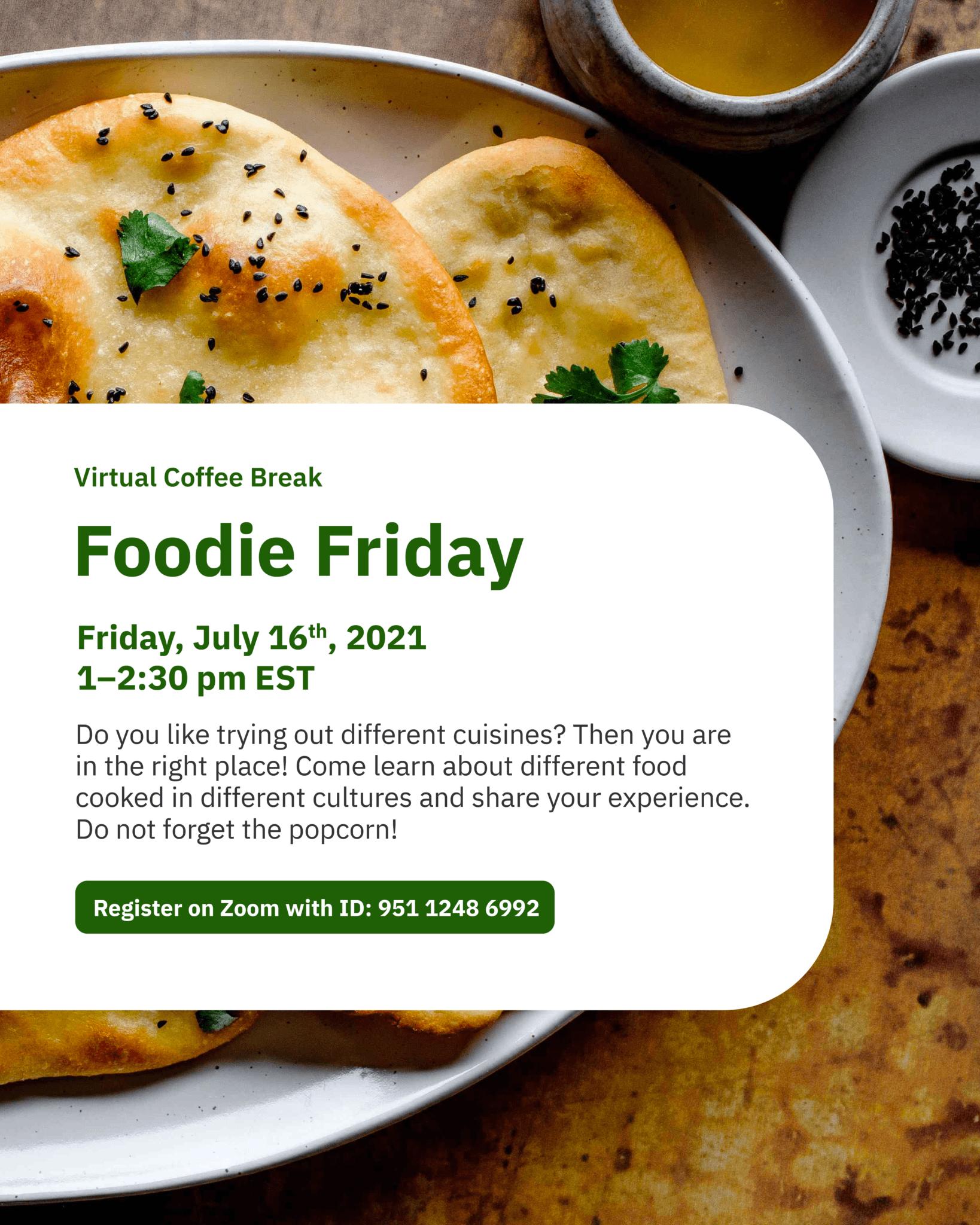 Virtual Coffee Break: Foodie Friday @ Zoom - York International