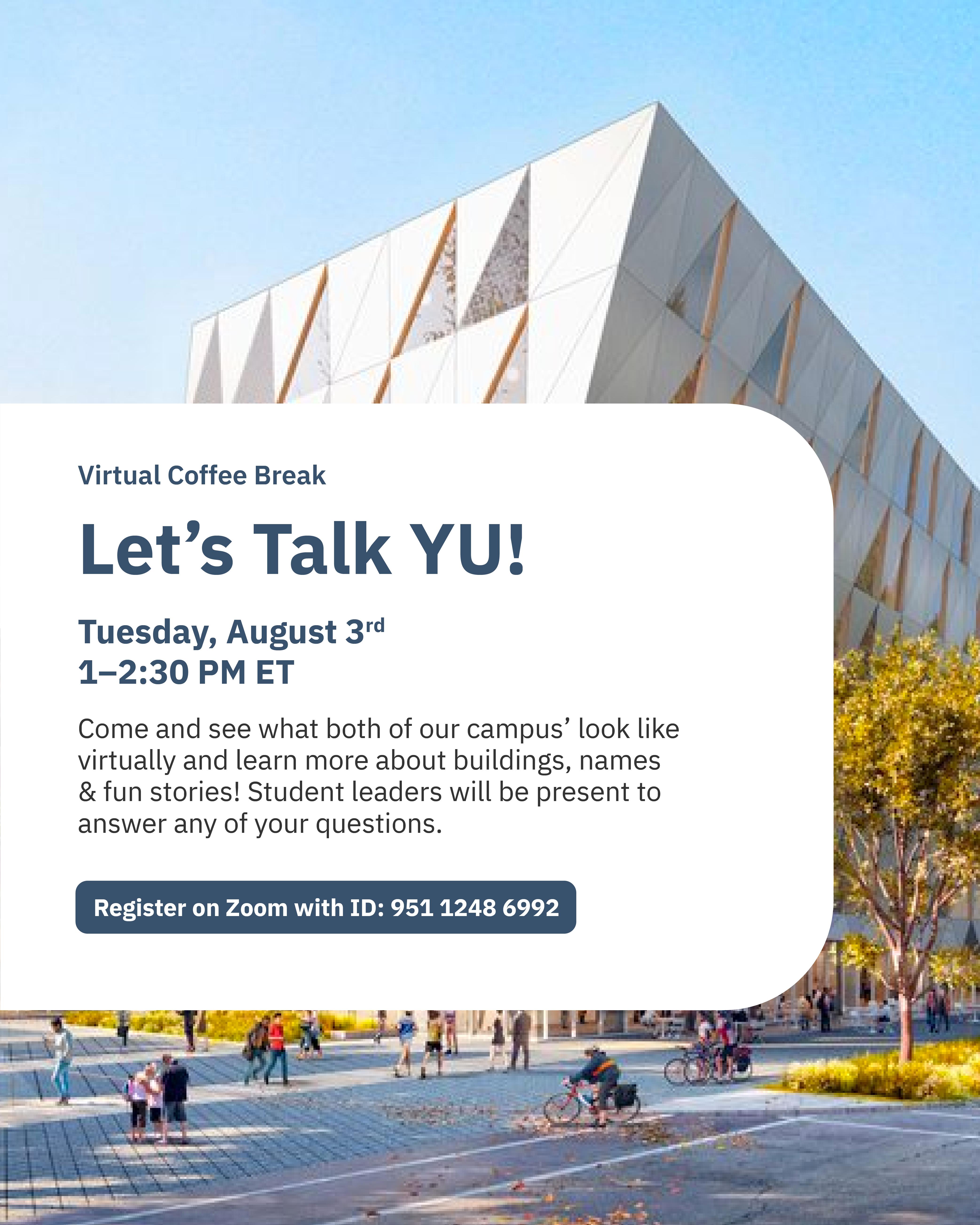 Virtual Coffee Break: Let's Talk YU @ Zoom - York International