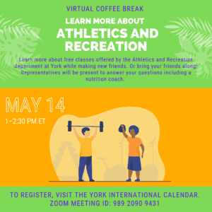 Virtual Coffee Break: Learn more about Athletics and Recreation! @ York International